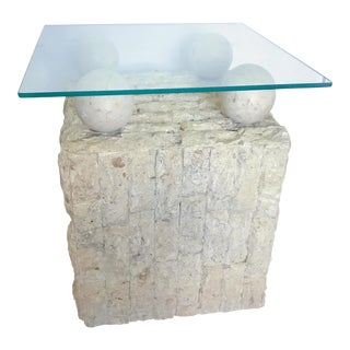 Vintage Tessellated Stone & Glass Side Table