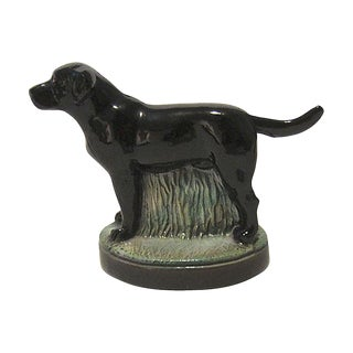 1980s English Traditional Black Labrador Retriever Metal Bottle Opener
