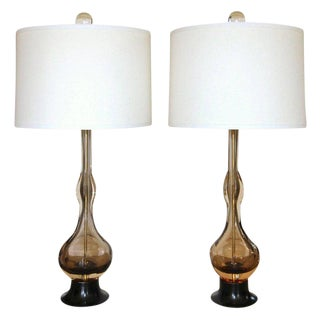 Flavio Poli Seguso Sommerso Murano Brown Glass Table Lamps - a Pair