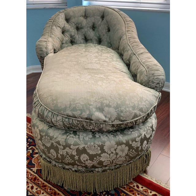 Antique Silk Upholstery Chaise For Sale - Image 4 of 12