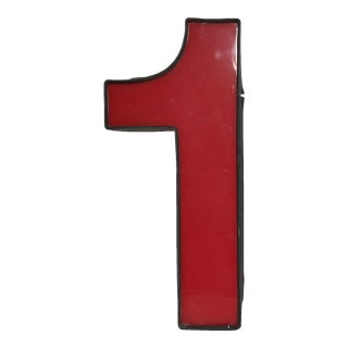 1980s Large Vintage Red Salvaged Marquee Number 1 Signage