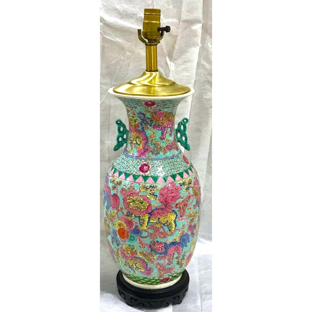 Metal Exquisite Chinese Famille Rose Foo Dog Motif Vase, Now as a Lamp For Sale - Image 7 of 10
