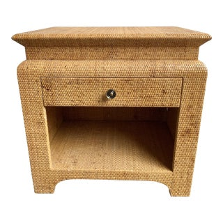 20th Century Boho Chic Raffia Wrapped Nightstand For Sale