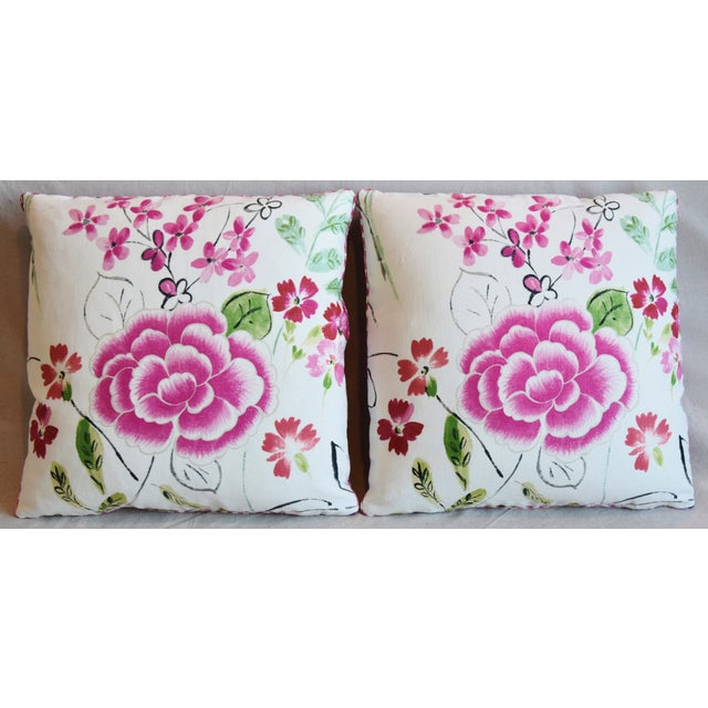 "Pair of custom-tailored reversible pillows in unused French linen fabric called ""Mathilda"" from Manuel Canovas Fabrics...."