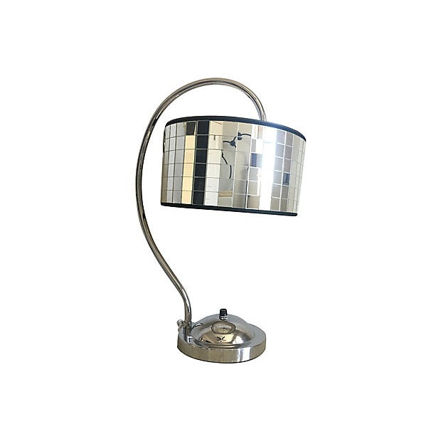 Large 1950s Hollywood Regency style lamp featuring a polished chrome frame with shepherd's hook arm and the original fixed...