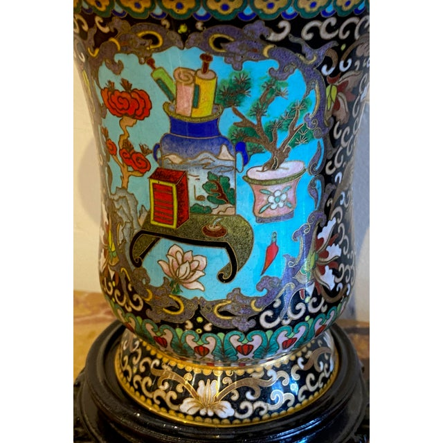 19th Century Chinese Cloisonné Vases-a Pair For Sale In Dallas - Image 6 of 10
