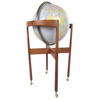 Mid-Century Modern Illuminated Replogle Globe on Teak Stand For Sale