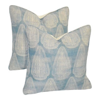 Light Blue Printed Linen Pillows With Down Inserts - a Pair For Sale