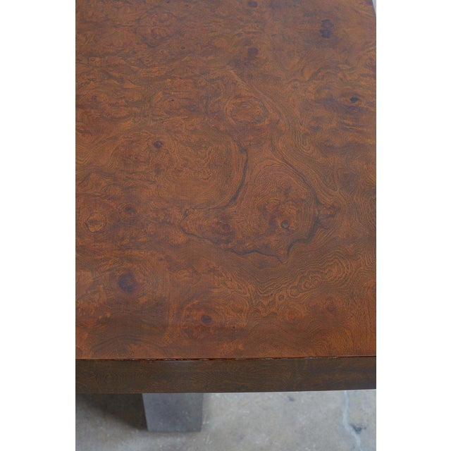 Brown Milo Baughman Burl Wood Chrome Extension Dining Table For Sale - Image 8 of 13