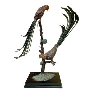 Large Scale Cold Painted Bronze Parrot Sculpture For Sale