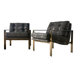 Pair of Patinated Steel Framed Upholstered Armchairs 1970s For Sale