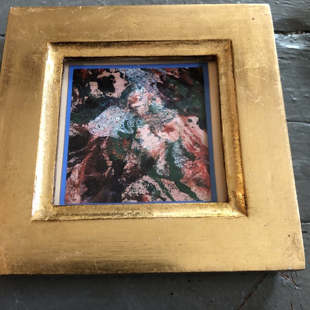 Original 2 x 2 painting on paper unsigned Overall size with vintage frame is 4 x 4