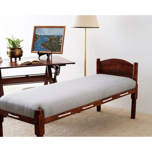 Charming late 18th century New England cherry daybed or rope bed made in the Federal style and period. Features a newly...