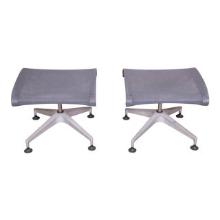 Herman Miller Modern Aluminum and Mesh Ottomans or Stools, Pair For Sale