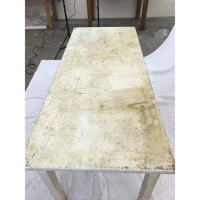 Mid 20th Century Vintage & Rustic White Wooden Factory Table For Sale - Image 5 of 6