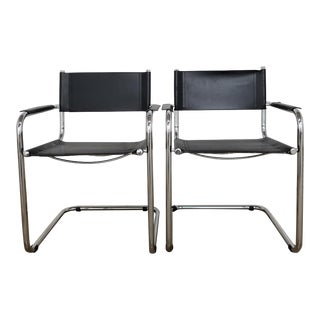 Vintage 1990's Mid Century Bauhaus Mart Stam Black Leather and Chrome Cantilever Armchairs - a Pair For Sale