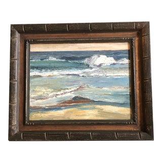 Original Vintage Mid Century Seascape Impressionist Painting Vintage Carved Wood Frame For Sale