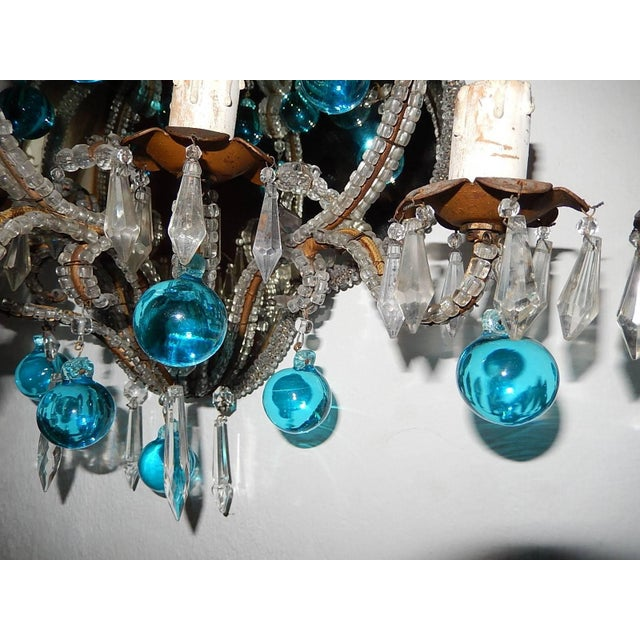 Turquoise French Micro Beaded Mirror Aqua Blue Murano Drops Sconces For Sale - Image 8 of 10