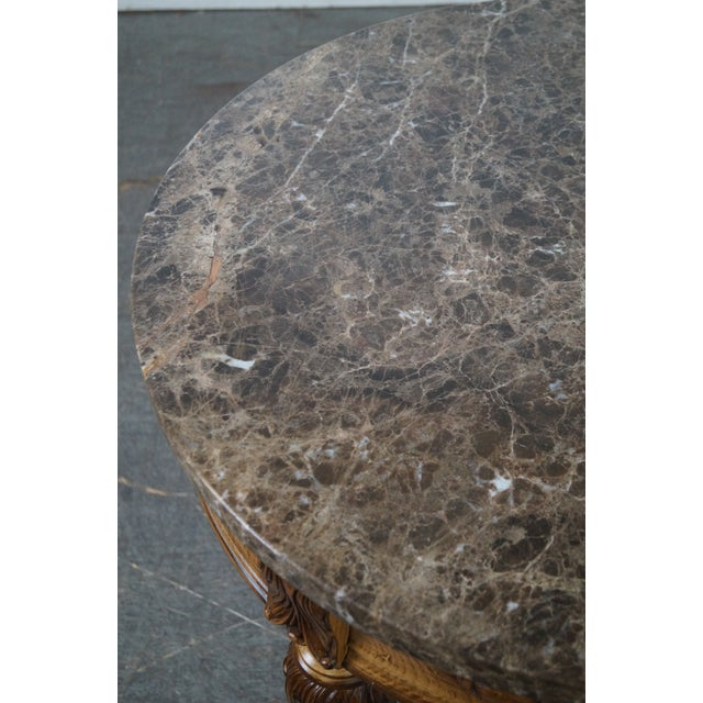 Marble Jeffco Round Marble Top Regency Style Lamp Table For Sale - Image 7 of 10