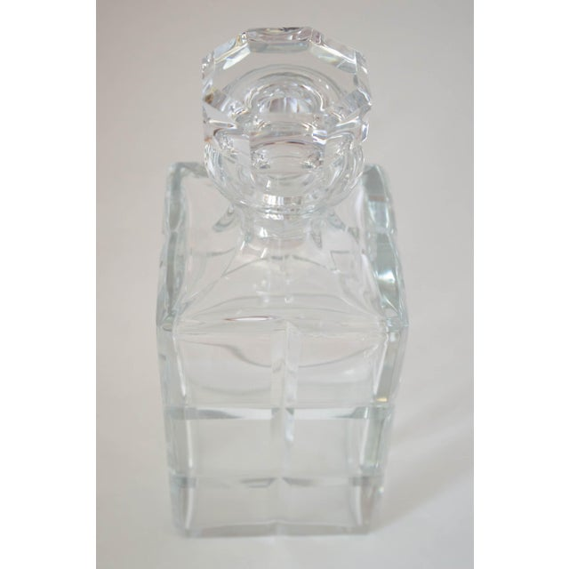 Transparent Square Cut Crystal Whiskey Decanter W/Stopper For Sale - Image 8 of 9