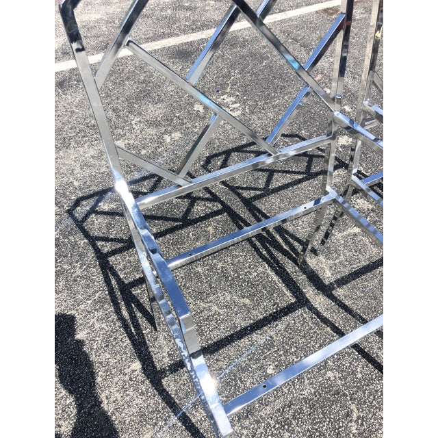 1970s Dia Chinese Chippendale Chrome Dining Chairs - a Pair For Sale - Image 5 of 10