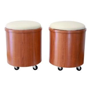 Cylindrical Teak Laminate Stools - A Pair