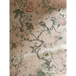 Chinoiserie G P & J Baker Oriental Bird Signature Blush Linen Blend Fabric - 4 Yards For Sale