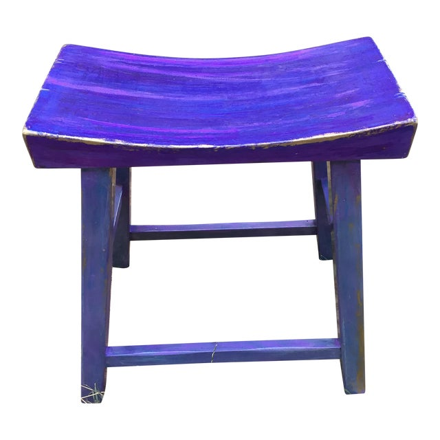 Hand-Painted Violet Saddle Seat For Sale