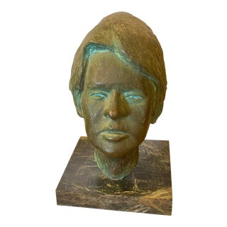 Mid-Century Bronze Bust of a Woman For Sale
