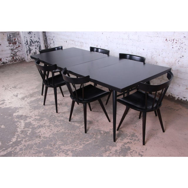 Mid-Century Modern 1950s Paul McCobb for Planner Group Ebonized Extension Dining Table & Chairs - Set of 6 For Sale - Image 3 of 13
