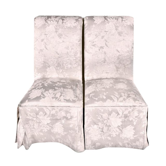 Contemporary Off White Upholstered High Back Skirted Parsons Chairs - a Pair For Sale