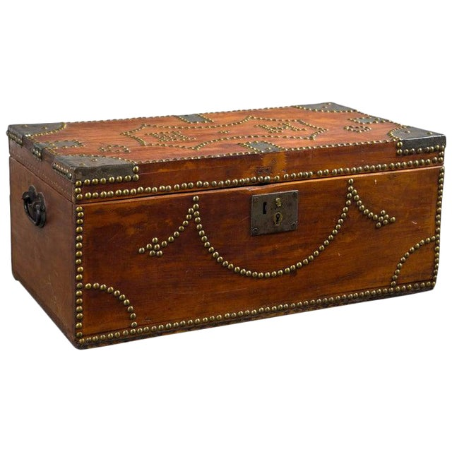 19th Century Tack Decorated Trunk For Sale