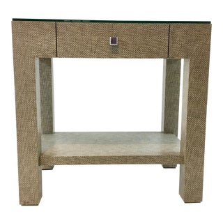 Modern Bungalow 5 Valentina Grasscloth One Drawer Side Table For Sale