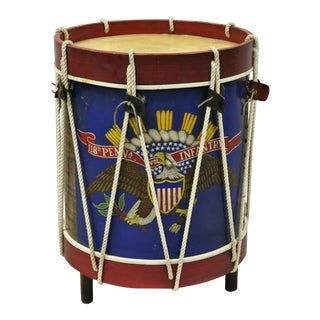 Vintage Don Maley Patriot Patriotic Army Drum Military Wood Side End Table For Sale