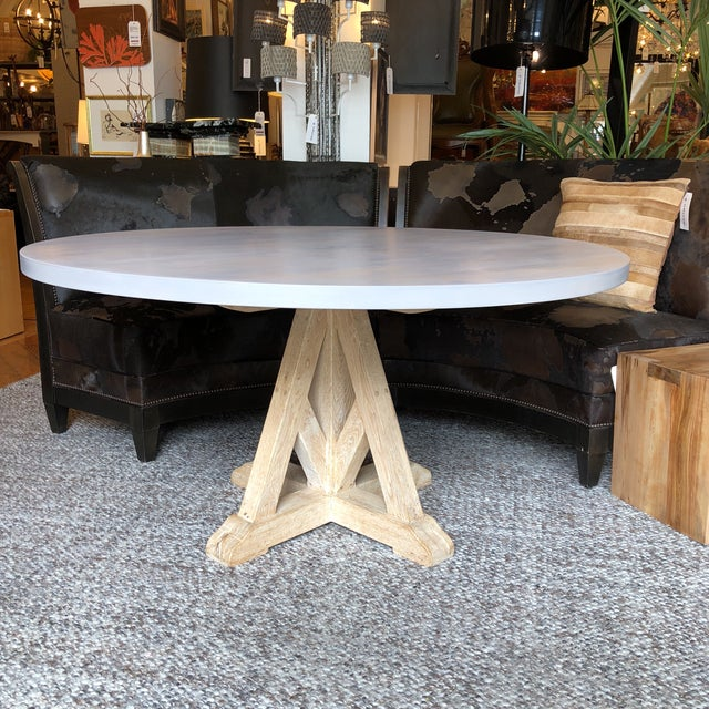 Contemporary Round Pedestal Dining Table For Sale - Image 9 of 9