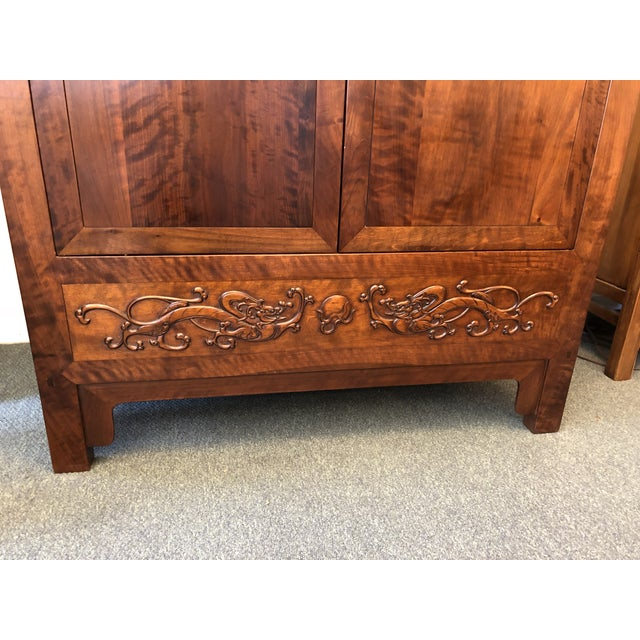 Asian Asian Style Walnut Bar or Media Armoire For Sale - Image 3 of 13