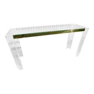 Vintage Lucite & Brass Console Table