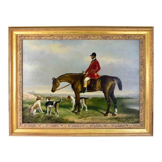 """Mr. Charles Davis Huntsman to Her Majesty, on """"Traverser"""" by W & H Barraud Reproduction 23 X 18.5 In. For Sale"""