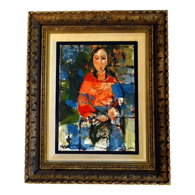 """1950s Vintage Ruth Schloss """"Sephardic Woman"""" Oil on Canvas Painting For Sale"""