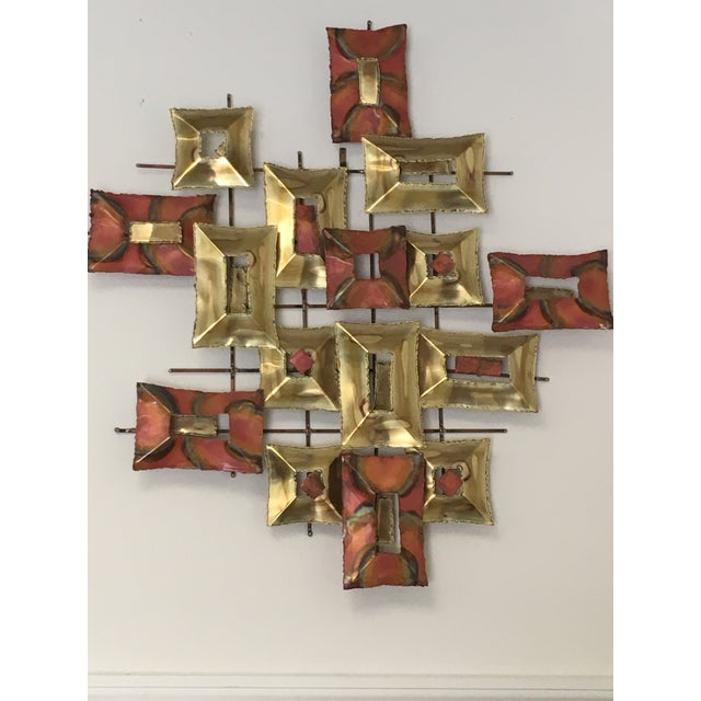 20th Century Brutalist Brass and Copper Wall Sculpture For Sale - Image 4 of 10