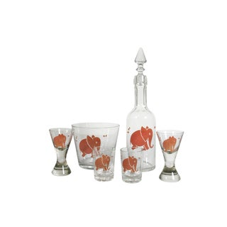 Pink Elephant Bar Ware - Set of 6