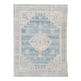 Modern Oushak Design in Silver, Light Gray, Taupe, Aqua and Sea-Foam Colors For Sale
