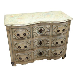 Jansen Style Distressed Decorated Commode For Sale