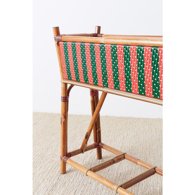 Late 20th Century French Maison Gatti Bamboo Rattan Jardiniere Planter For Sale - Image 5 of 13