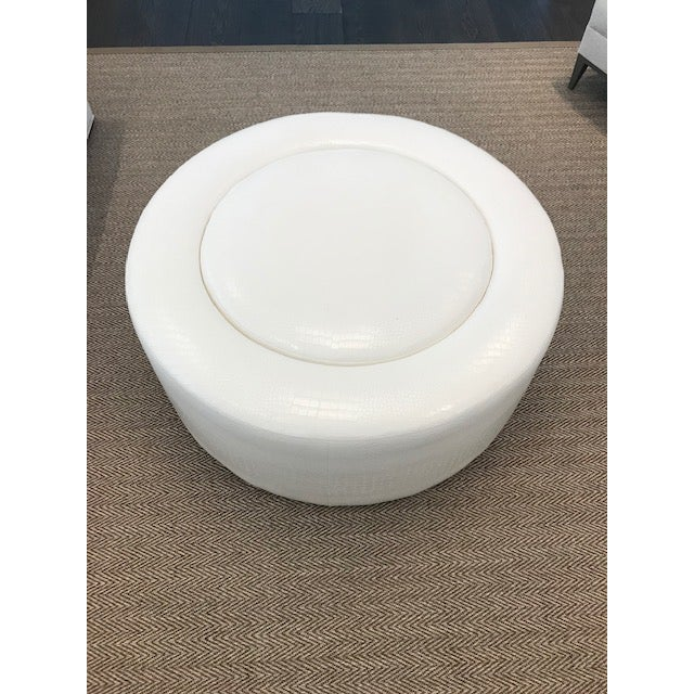 Super Custom White Leather Round Ottoman Gmtry Best Dining Table And Chair Ideas Images Gmtryco