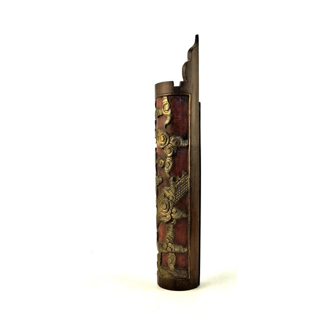 1900 - 1909 1900s Chinese Carved & Gilt Painted Bamboo Incense Holder For Sale - Image 5 of 12