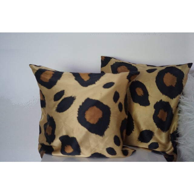 Modern 1990s Silk Leopard Pillow Covers - A Pair For Sale - Image 3 of 7