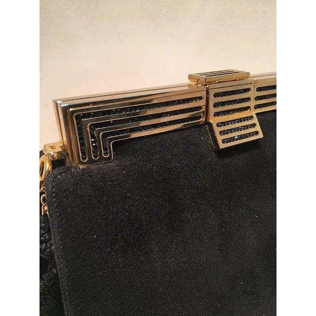 Judith Leiber Black Suede Evening Bag Clutch With Silk Tassel For Sale In Philadelphia - Image 6 of 10