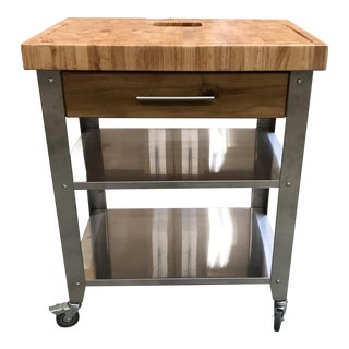 Chris & Chris Pro Stadium Kitchen Cart Butcher Block