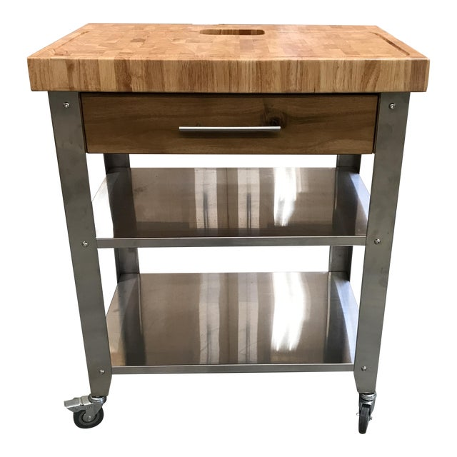 Chris & Chris Pro Stadium Kitchen Cart Butcher Block - Image 1 of 5
